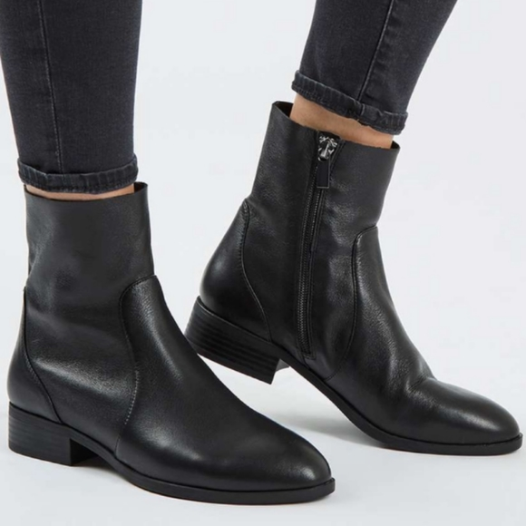 Black Moto Leather Ankle Boots 95m